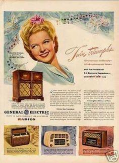 General Electric Phonograph Ad Marjorie Reynolds (1946)