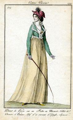 Costume Parisien 1797 - it's so simple, and so fantastic, those bold colours, that cute fur trim, the bandanna AKA fichu en marmote (ha!)...