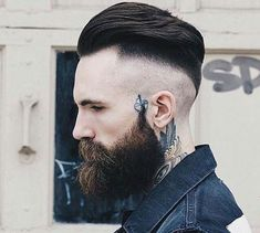 Slick Back Haircut With High Fade - Low Fade, High Fade, Skin Fade, Fade Haircut Skin Fade Pompadour, Side Part Pompadour, Slick Back Haircut, Drop Fade Haircut, Slick Back Undercut, Undercut Men, Pompadour Hairstyle, Hairstyle Look