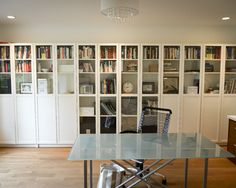 Bookshelves: Contemporary Home Office Wall Of Book Storage With Doors Combination Of Translucent And Opaque Doors Glass Fronted Bookcases With Integrated Storage, Ikea Micke White Desk, Hemnes Glass Door Cabinet ~ miaohuifac.com