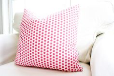 Do's & Dots Pillow Cover Pink Polka Dot Hot by WhiteHavenDesigns