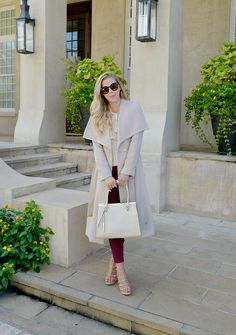 Wool blend wrap coat for fall.