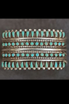 Signed zuni needlepoint sterling silver turquoise cuff bracelet 50.3 grams