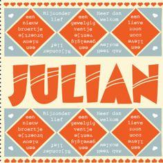 Een typografische geboortekaart met daarop ruitjes en hartjes