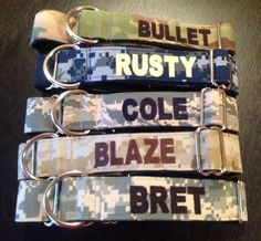 """Military Martingale Dog Collar 1"""" And 1.5"""" Embroidered w/dogs name - Availlable In  Army, Navy, Marine And Air Force -  L, XL"""