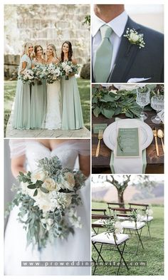 Shades of Green Wedding Color Ideas with Matching Wedding Invites Rustic Wedding Colors, Fall Wedding Colors, Wedding Color Schemes, Forest Wedding, Dream Wedding, Sage Green Wedding, Green Wedding Flower Ideas, Wedding Matches, Wedding Bells