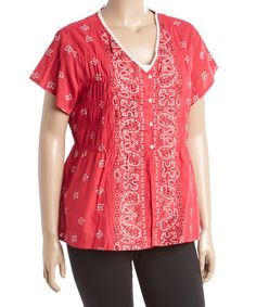 This La Cera Red & White Paisley V-Neck Tunic - Plus by La Cera is perfect! #zulilyfinds