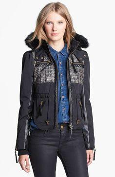 Blanc Noir Faux Fur & Faux Leather Trim Jacket (Online Only)   Nordstrom