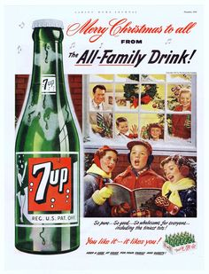 Vintage Christmas Ad ~ 7up Christmas Carolers ©1951