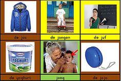 Woordkaartjes per klank, op de kleuren van Zien is snappen #zienissnappen #nt2 Jaba, Grammar, Literacy, Preschool, Letters, Teaching, Baseball Cards, Logos, Sports