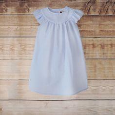 7/10   Light Blue Gingham Seersucker Angel Wing Dress