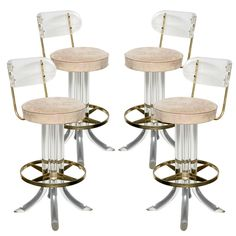 1stdibs - Four Lucite & Brass Swivel Bar Stools explore items from 1,700  global dealers at 1stdibs.com