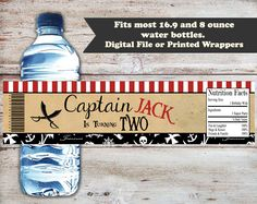 Pirate Water Bottle Label, Pirate Water Bottle Wrapper, Water Bottle Labels, Pirate Party Favors, Pirate Birthday Labels, Digital or Printed by PartiesR4Fun on Etsy