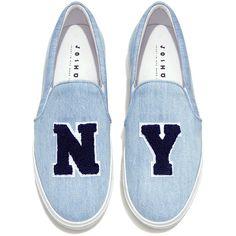 47f36b0918 Joshua Sanders - NY Denim Slip On Sneakers ( 233) ❤ liked on Polyvore  featuring