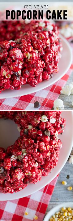 Red Velvet Popcorn Cake - red velvet and marshmallows combine with popcorn to make a fun popcorn cake that everyone will love.