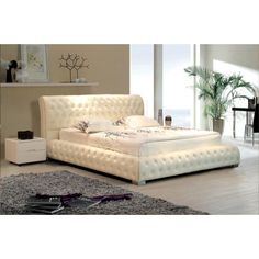 napoleon collection king size bed frame white leather b525kw