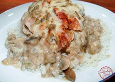 Smothered Chicken with mushrooms and bacon.  (no canned condensed soup)