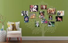 Familienfotos an die Wand familienbaum grün