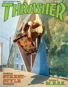 One of the most famous Thrasher covers ever, and one of the best. Natas Kaupas off the wall at Ocean Park Blvd in Santa Monica in Photo: C. Bedroom Wall Collage, Photo Wall Collage, Picture Wall, Skateboard Photos, Skateboard Art, Aesthetic Collage, Retro Aesthetic, Skate Longboard, Thrasher Skate