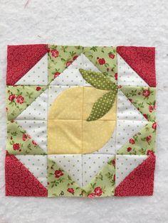Block 34 of the Splendid Sampler updated. I decided my lemon needed some leaves.