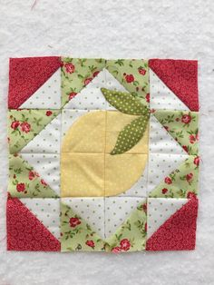 Block 34 of the Splendid Sampler updated. I decided my lemon needed some leaves.