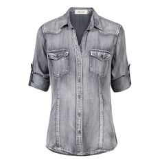 Blouse Fitted Button Down Ice Wash Grey BELLA DAHL ❤ liked on Polyvore featuring tops, blouses, button up blouse, gray blouse, bella dahl, gray top and button up tops