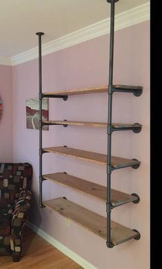 Ceiling Attached Pipe Shelving / Pipe Bookcase/ Open Shelving / Industrial Shelving / Shelf Brackets /Ceiling hung shelves - Famous Last Words Diy Bookshelf Design, Shelves, Industrial House, Diy Furniture, Bookshelves Diy, Home, Industrial Shelving, Wood Shelves, Shelving