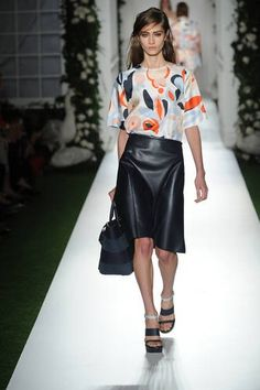 Leather isn't going anywhere next season, pair it with a brighly coloured floral short as seen at Mulberry #LFW #Inspiredby