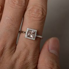 Princess Cut Engagement Ring Morganite Ring Silver Pink Gemstone Ring  Promise Ring for Her 545db604cd36
