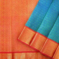 Perfect blue and red for a silk saree