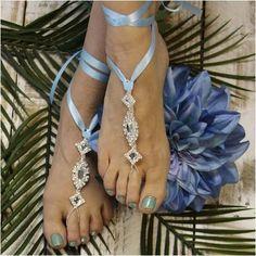 ENCHANTED wedding barefoot Sandals - something blue
