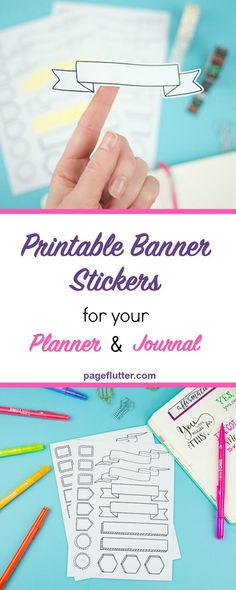 Easily add fun banners and other elements to your planner or bullet journal with these free printable stickers. You can either cut these out using your Cricut or Silhouette machine, or print them on sticker paper to cut out by hand the old school way. Bullet Journal Stickers, Bullet Journal Banner, Bullet Journal Mood, Bullet Journal Printables, Bullet Journals, Free Printable Banner, Printable Planner Stickers, Free Printables, To Do Planner