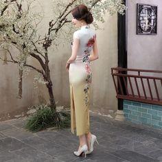Long length Satin Fabric Cheongsam Qipao Chinese dress C0038-05