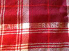 """Vintage Air France First Class Wool Blanket- Red Plaid, 45"""" x 58, excellent, very nice! by Vintagabella on Etsy https://www.etsy.com/listing/221384422/vintage-air-france-first-class-wool"""