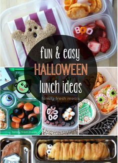 Last minute spookified lunches!- FamilyFreshMeals.com - Super FUN and easy Halloween lunchbox ideas!