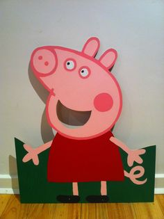 MDF peppa pig cut out for party game of ball throwing!