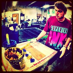 #reegrizzle from @zachrawles workin on them smoke signals tees #fashion #apparel #screenprint #printing #superiorink #denver