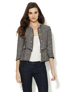 Love this little tweed jacket! Gemma Crus Tweed Button Peplum Jacket