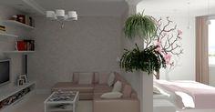 дизайн однокомнатной квартиры 30 кв.м фото разделить на две зоны