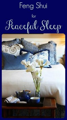 """You can create a zen, peaceful night's sleep with these practical and easy to implement feng shui design tips for your bedroom. Choose """"yin"""" (calming) colors to ensure a peaceful sleep. Greens, blues and violets are restful to our eyes and our spirits."""