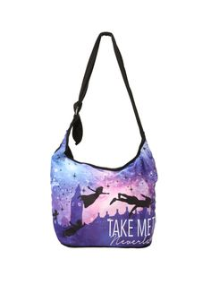 """Black hobo bag from Disney's Peter Pan with a """"Take Me To Neverland"""" silhouette design. Inside has pouch pocket and magnetic button closure."""