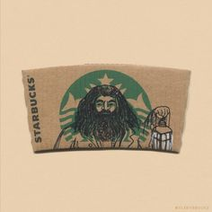 Hagrid on Starbucks s starbucks-cup-art-sleeve-illustration-sleevebucks-6