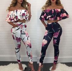 Stylish Fold-Over Ruffled Floral Cropped Pantsuit (With images) Summer Fashion Outfits, Cute Summer Outfits, Chic Outfits, Spring Outfits, Girl Outfits, Suits For Women, Clothes For Women, Two Piece Outfit, Dress To Impress