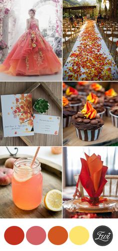 popular orange  fall  garden floral wedding theme inspiration
