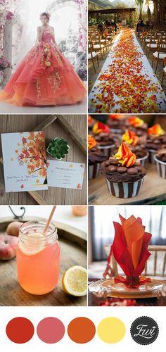 popular orange  fall  garden floral wedding theme inspiration