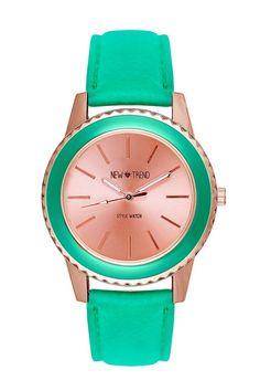 Damenuhr im Blogger Trend Design, Farben: Mint / Roségold