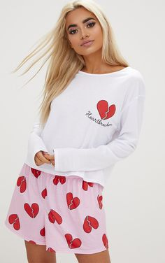 ac1a70afd7 White Heartbreaker Long Sleeve T Shirt PJ Set