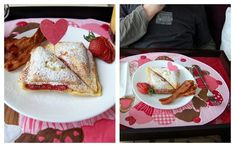 Recipe for a great breakfast in bed for your Valentine - strawberry stuffed french toast Breakfast Dishes, Breakfast Recipes, Breakfast Ideas, Sandwich Maker Recipes, Tasty, Yummy Food, I Love Food, So Little Time, Sweet Tooth