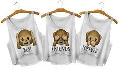 Best Friends Forever Monkey Crop Tops - Fresh-tops.com In M: