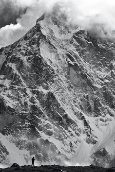 Man and the mountain, Cholatse in Nepal